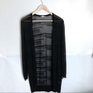 Eileen Fisher Sheer Black Long Sleeve Cardigan